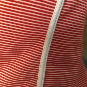 TOP CHIC Tops - Red White Stripe V-Neck Bodysuit OS